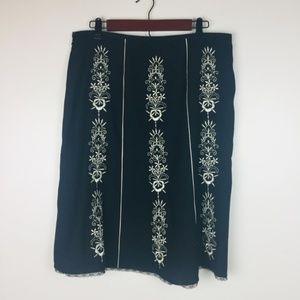 Ann Taylor Loft A-Line Skirt 12 Embroidery Lined Z